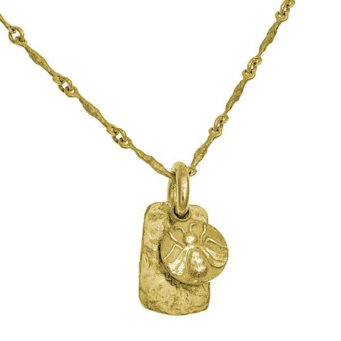 Gold Bee Layered Tablet Necklace-Brevard