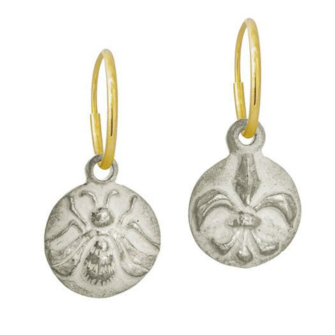 Bee + Fleur de Lis Coin Mismatch Earring Pair-Brevard