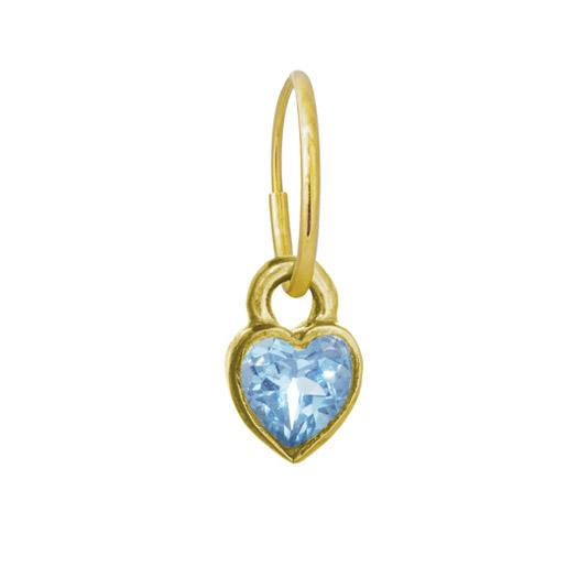 Gold Blue Topaz Bezel Heart • Endless Hoop Charm Earring-Brevard