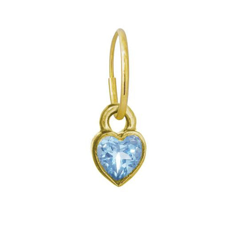 Gold Bezel Heart Blue Topaz Earring-Brevard