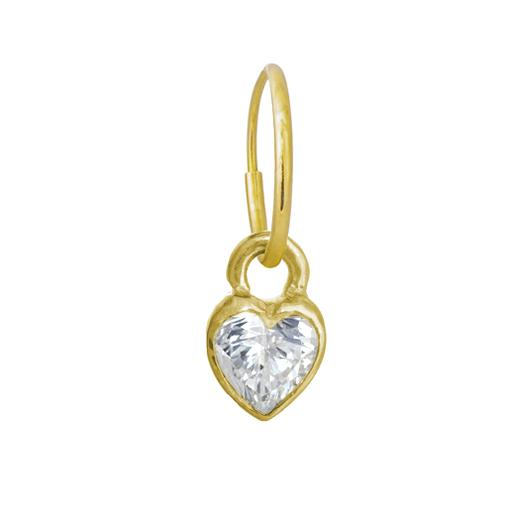 Gold Bezel Heart • Endless Hoop Charm Earring-Brevard