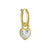 Gold Bezel Heart • Latch Hoop Charm Earring-Brevard