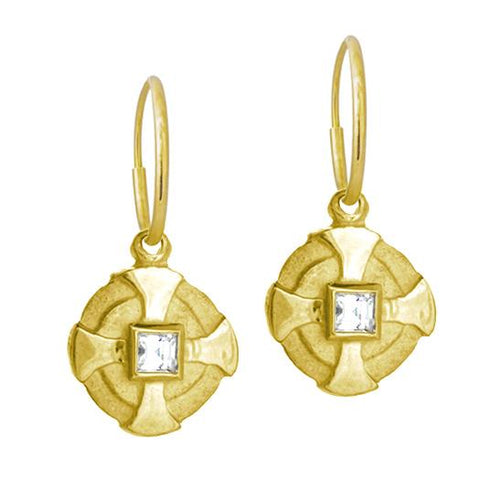 Gold Bismarkia Earring with Stone-Brevard