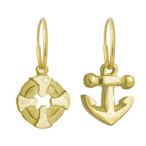 Gold Bismarkia + Anchor Mismatch Earring Pair-Brevard