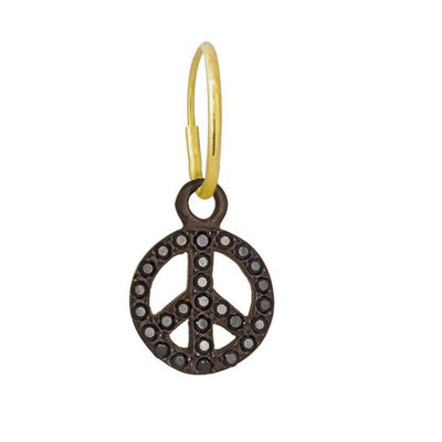Black Diamond Pavé Peace • Endless Hoop Charm Earring-Brevard