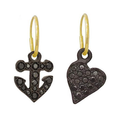 Black Pavé Anchor & Apollo Heart • Mismatch Endless Hoop Charm Earrings-Brevard
