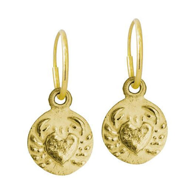 Gold Cancer • Endless Hoop Charm Earring-Brevard