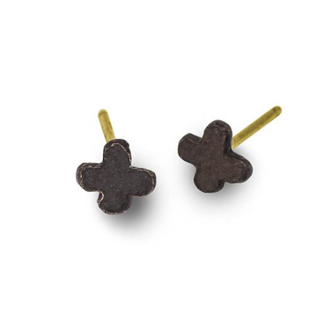Oxidized Tiny Center Cross Stud Earring-Brevard