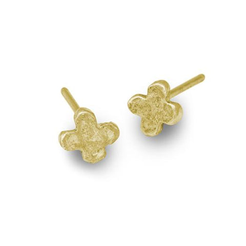 Gold Tiny Center Cross Stud Earring-Brevard