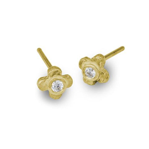 Gold Tiny Center Cross Stud Earring with Stone-Brevard