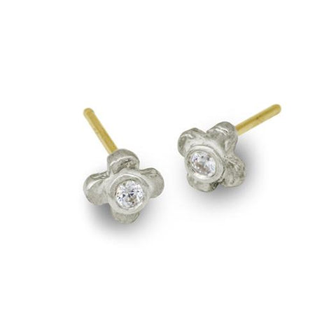 Tiny Center Cross Stud Earring with Stone-Brevard