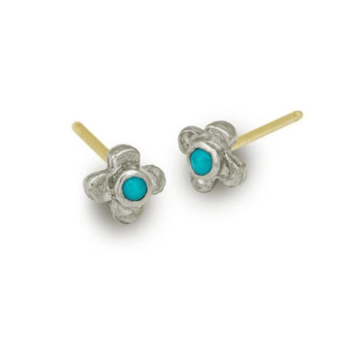 Turquoise Tiny Center Cross Stud Earring-Brevard