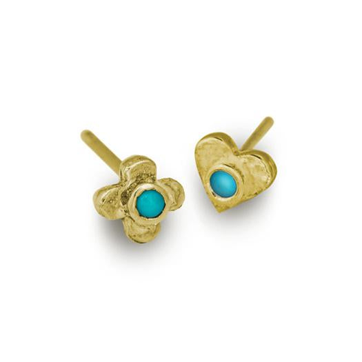 Gold Turquoise Tiny Center Cross + Heart • Mismatch Stud Earring Pair-Brevard
