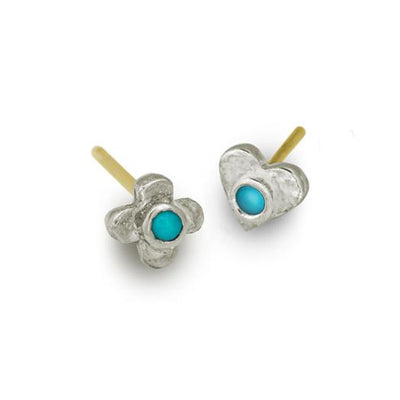Turquoise Tiny Center Cross + Heart • Mismatch Stud Earring Pair-Brevard
