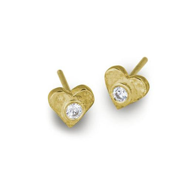 Gold Tiny Center Heart Stud Earring with Stone-Brevard