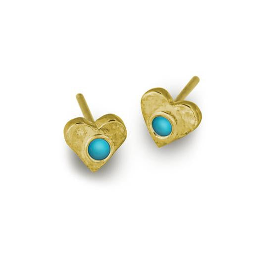 Gold Turquoise Tiny Center Heart Stud Earring-Brevard