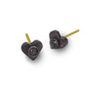 Black Diamond Tiny Center Heart Stud Earring-Brevard