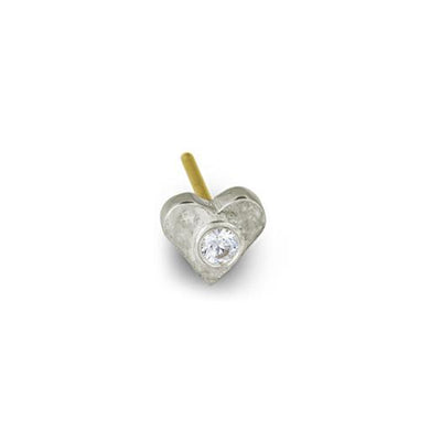 Tiny Center Heart Stud Earring with Stone-Brevard