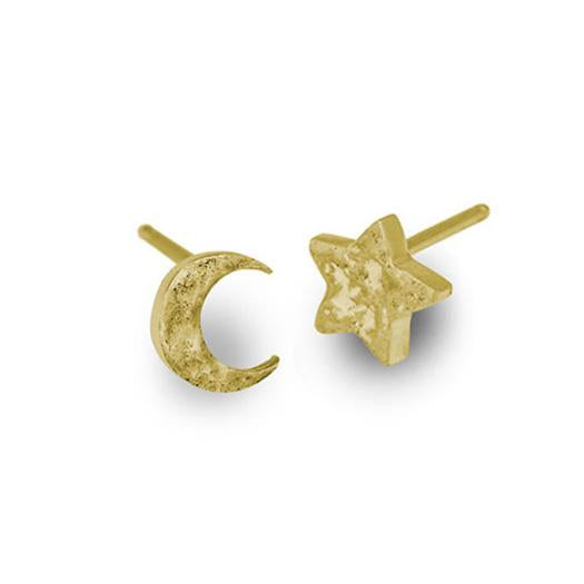 Gold Tiny Center Moon + Star • Mismatch Stud Earring Pair-Brevard