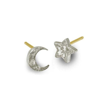 Tiny Center Moon + Star • Mismatch Stud Earring Pair-Brevard