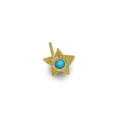 Gold Turquoise Tiny Center Star Stud Earring-Brevard