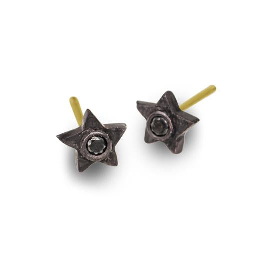 f4c7ae560 Black Diamond Tiny Center Star Stud Earring • LEE BREVARD • Oxidized ...