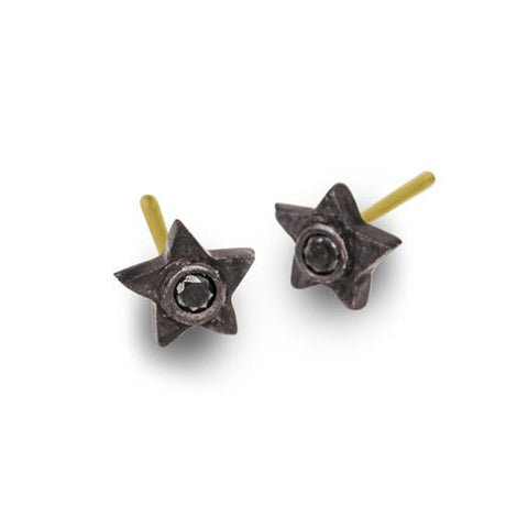 Black Diamond Tiny Center Star Stud Earring-Brevard