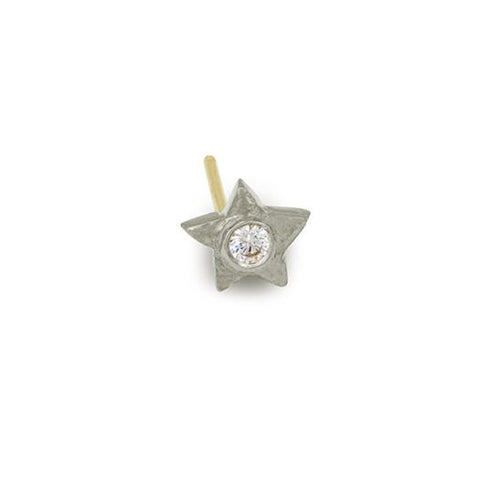 Tiny Center Star Stud Earring with Stone-Brevard