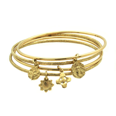 Gold Tiny Signature Cross Charm Bangle-Brevard