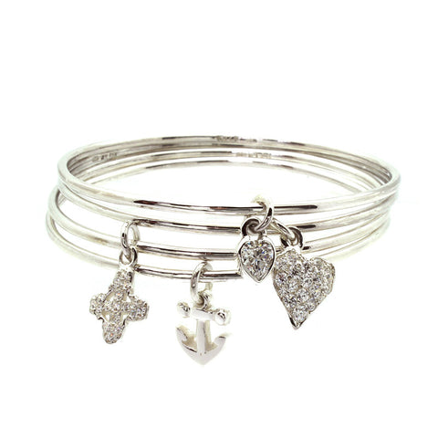 Bezel Heart Charm Bangle-Brevard
