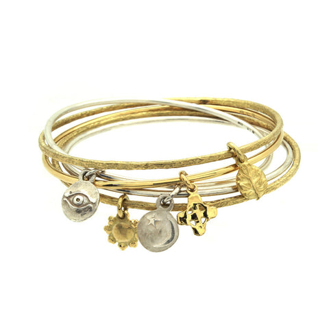Gold Tiny Sun Hammered Charm Bangle-Brevard