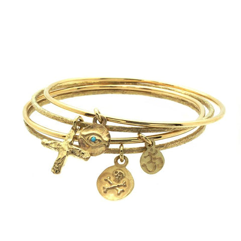 Gold Eye of Horus Charm Bangle with Turquoise-Brevard