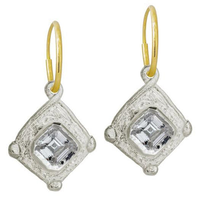 Checkerboard • Endless Hoop Charm Earring-Brevard