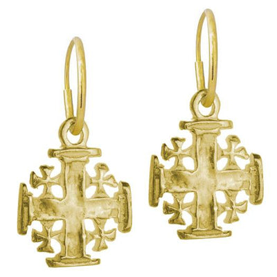 Gold Cinq Cross • Endless Hoop Charm Earring-Brevard