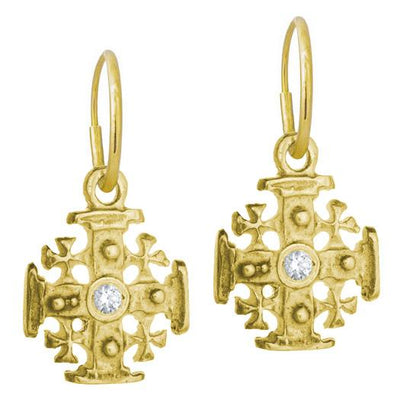 Gold Cinq Cross Earring with Stone-Brevard