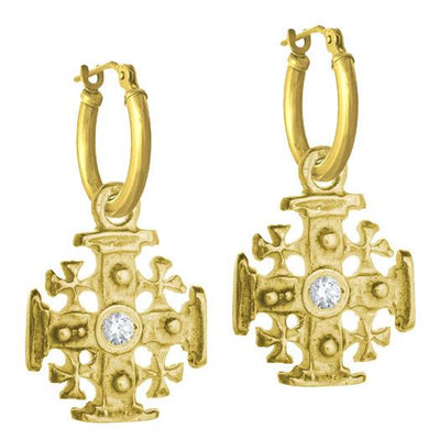 Gold Cinq Cross with Stone • Latch Hoop Charm Earring-Brevard