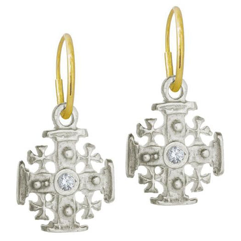 Cinq Cross Earring with Stone • Endless Hoop Charm Earring-Brevard