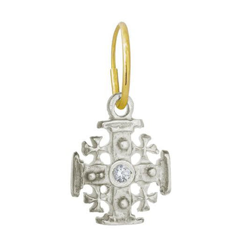 Cinq Cross Earring with Stone-Brevard