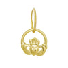 Gold Claddagh Heart • Endless Hoop Charm Earring-Brevard