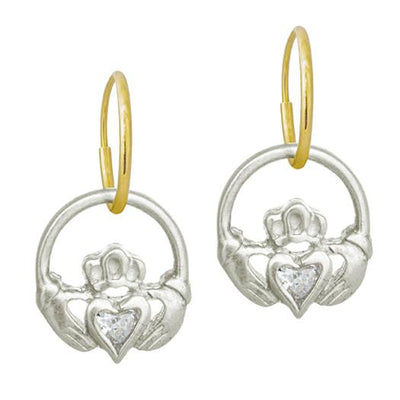 Claddagh Heart with Stone • Endless Hoop Charm Earring-Brevard