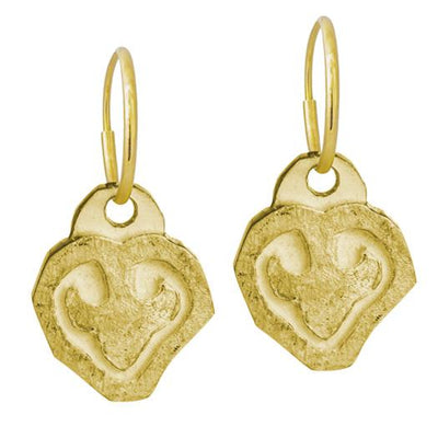 Gold Coeur Heart • Endless Hoop Charm Earring-Brevard