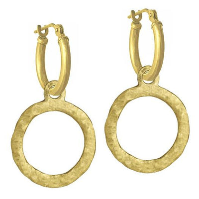 Gold Compass • Latch Hoop Charm Earring-Brevard