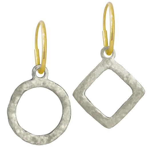 earrings brass plated front geometric yellow gold mismatch