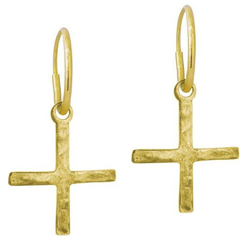 Gold Compass Cross Earring-Brevard