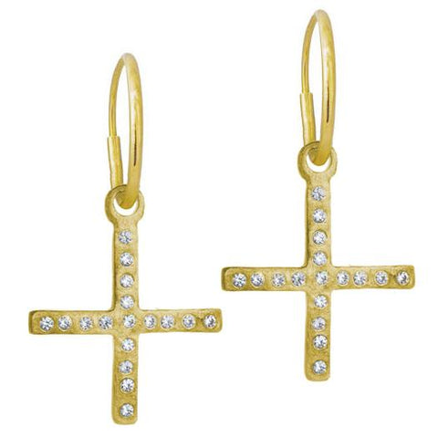 Gold Compass Cross Earring with Stones-Brevard
