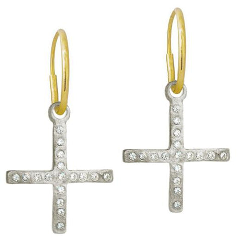 Compass Cross Earring with Stones-Brevard