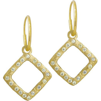 Gold Diamond Compass with Stones • Endless Hoop Charm Earring-Brevard