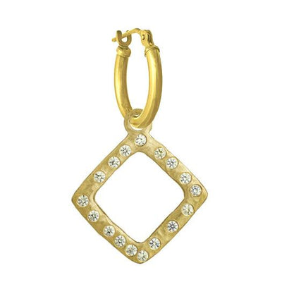 Gold Diamond Compass with Stones • Latch Hoop Charm Earring-Brevard