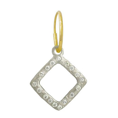 Diamond Compass with Stone • Endless Hoop Charm Earring-Brevard