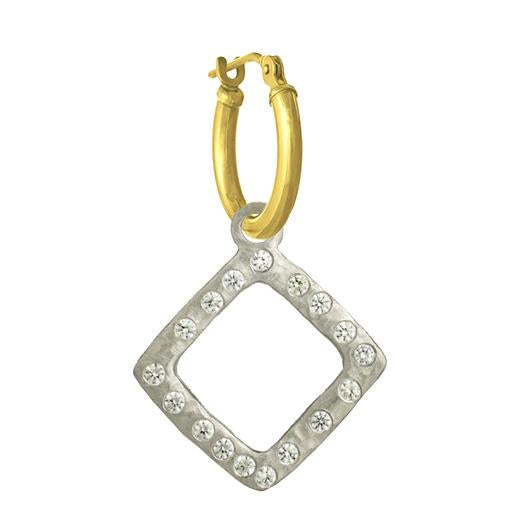 Diamond Compass with Stones • Latch Hoop Charm Earring-Brevard